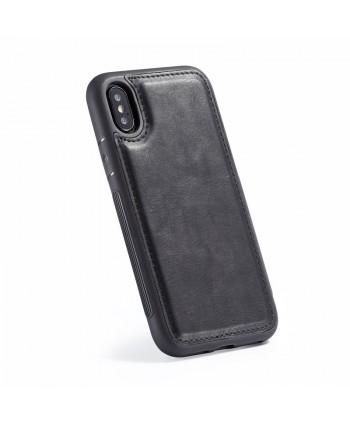 iPhone Canvas Genuine Leather Folio Case - Black