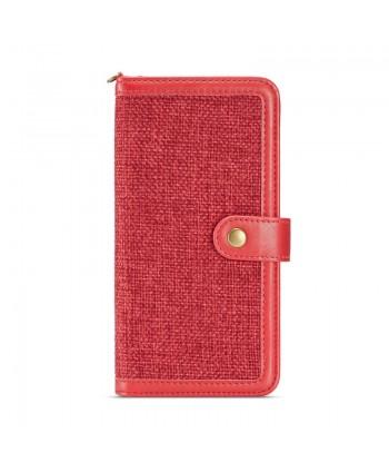 iPhone Canvas Genuine Leather Folio Case - Red