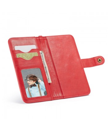 iPhone Canvas Genuine Leather Folio Case - Red