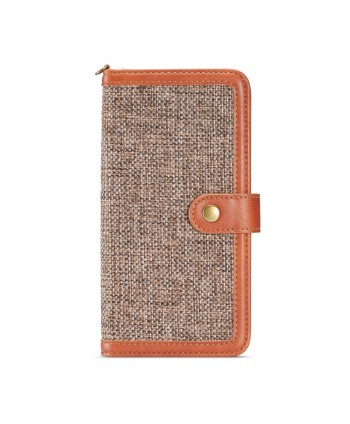 iPhone Canvas Genuine Leather Folio Case - Brown