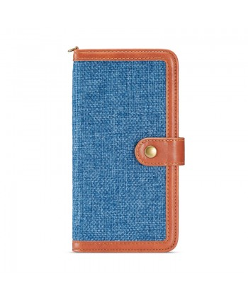 iPhone Canvas Genuine Leather Folio Case - Blue