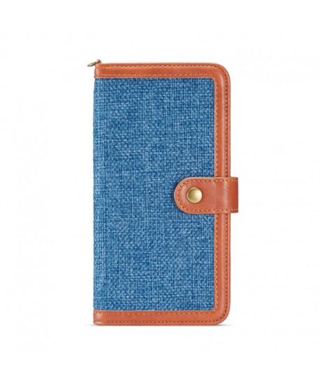 iPhone Canvas Genuine Leather Folio Case - Blue