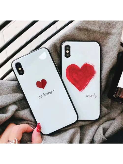iPhone X Couple Love Heart Tempered Glass Case