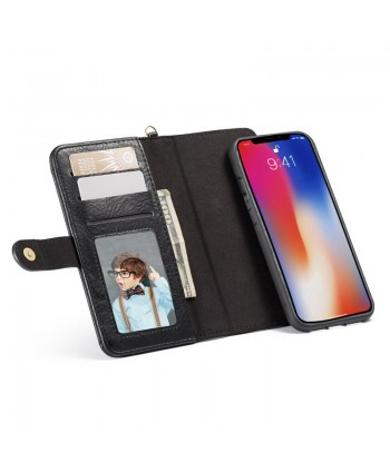 iPhone Crazy Horse Leather Wallet Case - Black