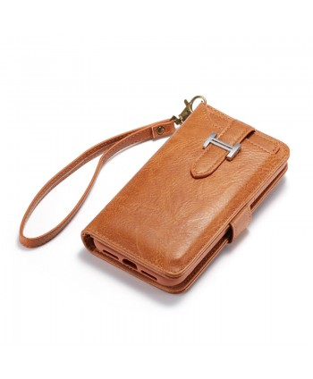 iPhone Crazy Horse Leather Wallet Case - Brown