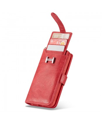 iPhone Crazy Horse Leather Wallet Case - Red