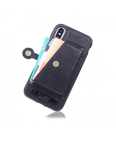 iPhone Leather Card Case With Stand - Black