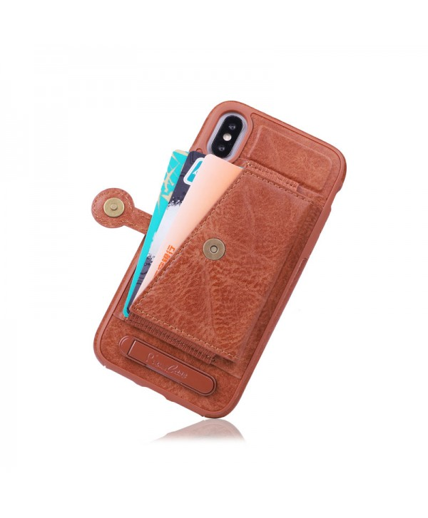 iPhone Leather Card Case With Stand - Brown