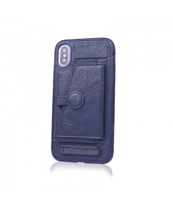 iPhone Leather Card Case With Stand - Navy Blue