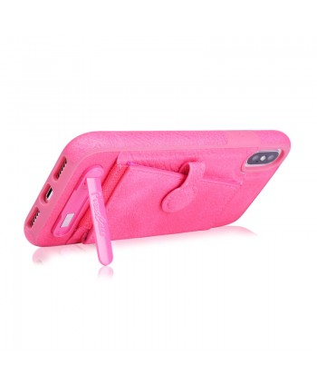 iPhone Leather Card Case With Stand - Rose Red