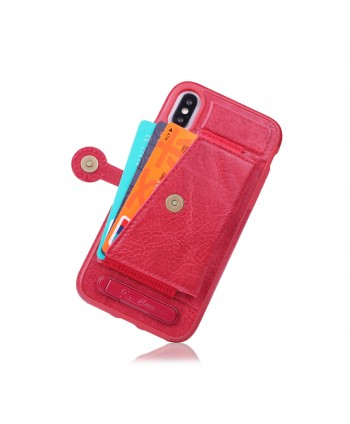 iPhone Leather Card Case With Stand - Red