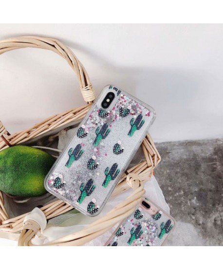 iPhone Cactus Glitter Liquid Quicksand Phone Case