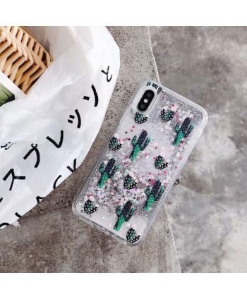 iPhone Cactus Glitter Liquid Quicksand Phone Case