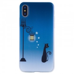 Cute Cat& Street Light 3D Relief Shockproof Protective Case