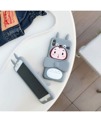 iPhone 3D Totoro Girl Silicone Kickstand Case