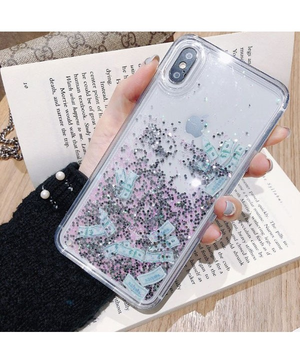 iPhone Liquid Glitter Silver Quicksand Dollar Case