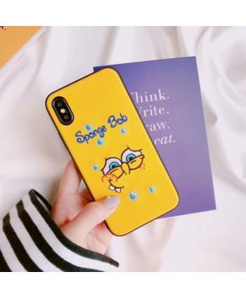 iPhone Cartoon Embroidery Spongebob Protective Case