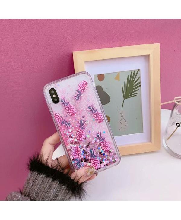 iPhone Liquid Glitter Quicksand Pineapple Case