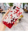 iPhone Liquid Glitter Red Hearts Waterfall Case