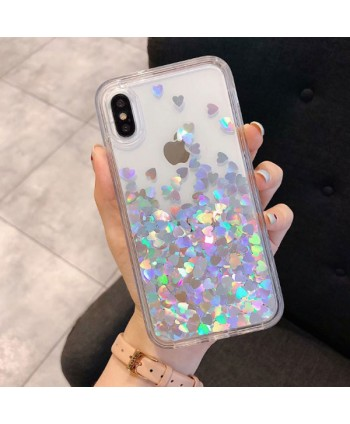 iPhone Liquid Glitter Silver Hearts Waterfall Case