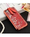 iPhone Liquid Glitter Quicksand Bunny Ear Kickstand Case - Red