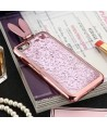 iPhone Liquid Glitter Quicksand Bunny Ear Kickstand Case - Pink