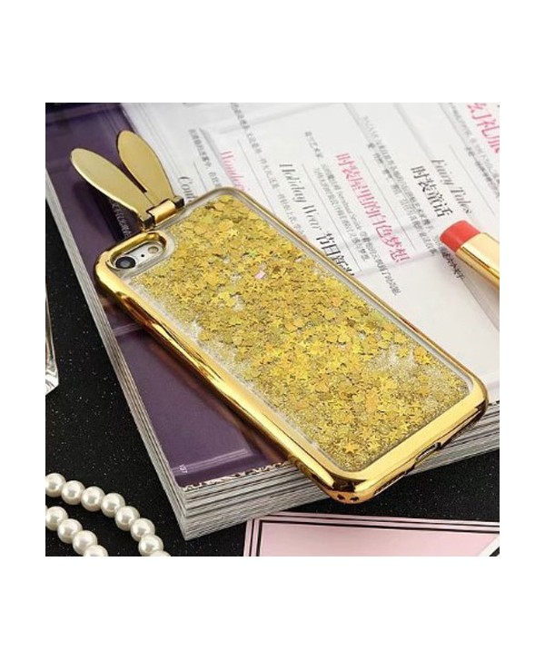 iPhone Liquid Glitter Quicksand Bunny Ear Kickstand Case - Gold