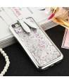 iPhone Liquid Glitter Quicksand Bunny Ear Kickstand Case - Silver