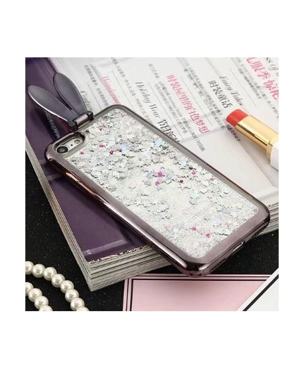 iPhone Liquid Glitter Quicksand Bunny Ear Kickstand Case - Black