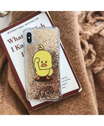 Cute Yellow Duck Liquid Glitter Quicksand iPhone Case