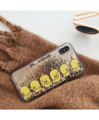 Cute Yellow Ducks Liquid Glitter Quicksand iPhone Case