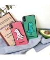 iPhone X Cartoon Embroidery Dinosaur Couple Case