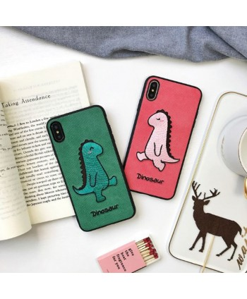 iPhone X Cartoon Embroidery Dinosaur Couple Case