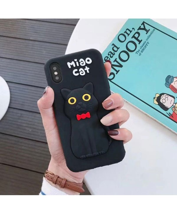 iPhone Cute 3D Black Cat Soft Silicone Case