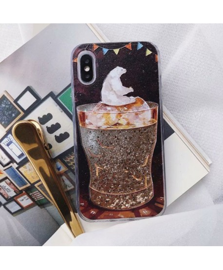 iPhone Polar Bear& Glass Liquid Glitter Case