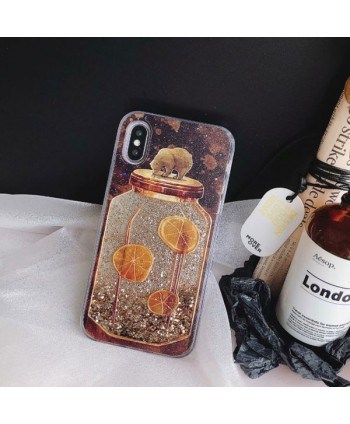 iPhone Brown Bear& Glass Bottle Liquid Glitter Case