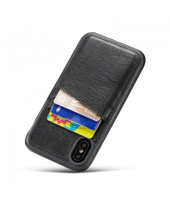 iPhone Crazy Horse Leather Back Case With Card Holder - Black