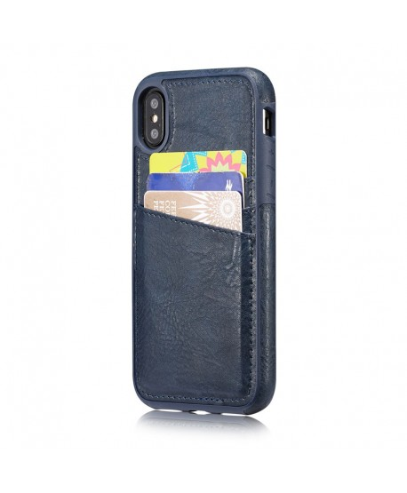 iPhone Crazy Horse Leather Back Case With Card Holder - Navy Blue
