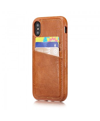 iPhone Crazy Horse Leather Back Case With Card Holder - Brown