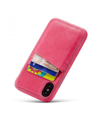iPhone Crazy Horse Leather Back Case With Card Holder - Rose Red
