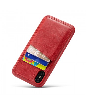 iPhone Crazy Horse Leather Back Case With Card Holder - Red