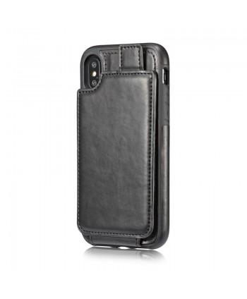 iPhone Leather Vertical Flip Wallet Card Case - Black