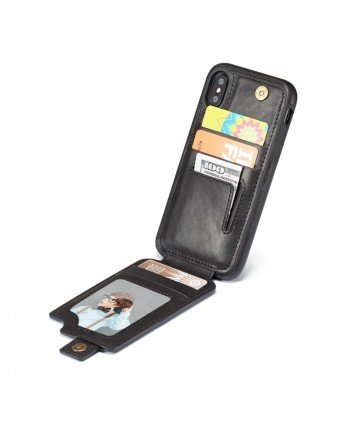iPhone Leather Vertical Flip Wallet Card Case - Black