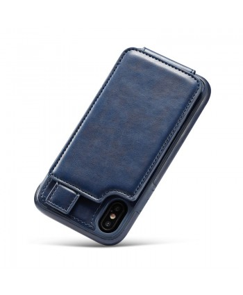 iPhone Leather Vertical Flip Wallet Card Case - Navy Blue