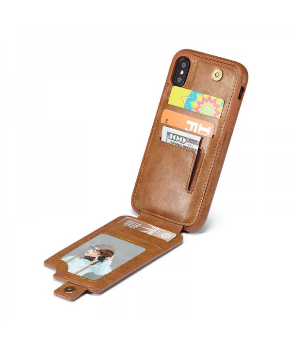 iPhone Leather Vertical Flip Wallet Card Case - Brown