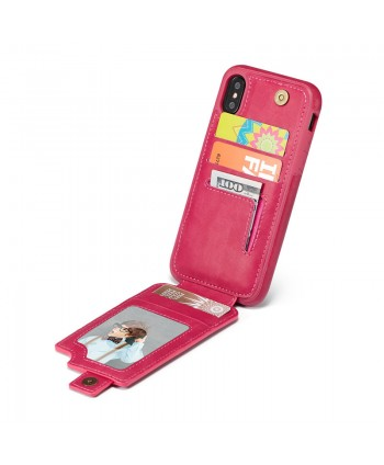 iPhone Leather Vertical Flip Wallet Card Case - Rose Red