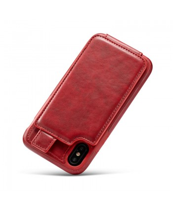 iPhone Leather Vertical Flip Wallet Card Case - Red