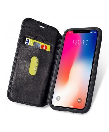 iPhone Premium Handcrafted Leather Flip Case - Black