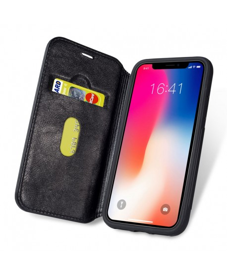 iPhone Premium Handcrafted Leather Flip Case - Black