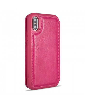 iPhone Premium Handcrafted Leather Flip Case - Rose Red